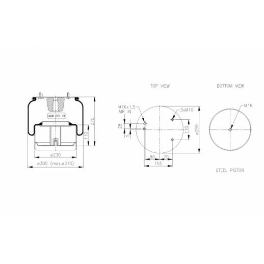 Цена пневморессоры ABM50731B05 ABM 507 31 B 05