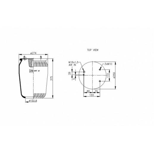 Цена пневморессоры ABM50731B ABM 507 31 B